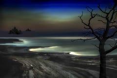 Portret Nieżywy morze w Izrael nocą intensywny blask księżyca odbija na falach i tworzy widmowy całego obraz royalty free