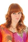 Portret niegrzeczna czerwona z włosami dziewczyna Fotografia Royalty Free
