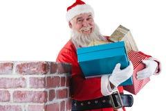 Portret niesie różnorodnych prezenty Santa Claus Zdjęcia Royalty Free
