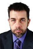 Portret nieszczęśliwy mężczyzna w kostiumu Obraz Royalty Free