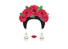 Portret nowożytna meksykanina lub hiszpańszczyzn kobieta Z kwiatem, koronuje, Wektorowy przejrzysty tło Zdjęcie Stock