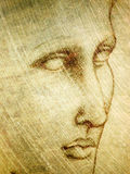 portret ołówkowy szkic twarzy Obraz Royalty Free