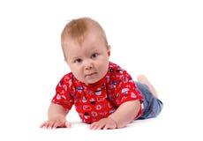 Portret odizolowywający na białym tle uśmiechnięta chłopiec Obraz Royalty Free
