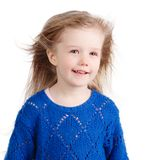 Portret odizolowywający na bielu szczęśliwy dziecko obraz stock
