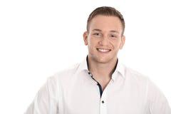 Portret: odosobniony młody blond północny mężczyzna nad bielem Zdjęcia Royalty Free