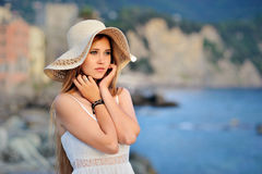Portret Of Dreamy Girl In The Hat On Mediterranean Sea Stock Photo