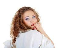 portret okaleczająca kobieta Zdjęcia Royalty Free