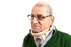 Portret of old man with a surgical cervical collar after the ope Royalty Free Stock Images