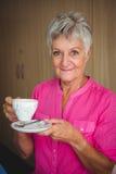 Portret ono uśmiecha się przechodzić na emeryturę kobieta fotografia royalty free