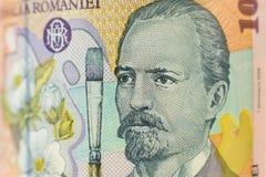 Portret op Roemeense 10 Lei rekening royalty-vrije stock foto