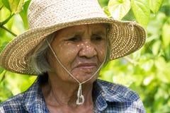 Portret Oude Aziatische Vrouwen stock afbeelding