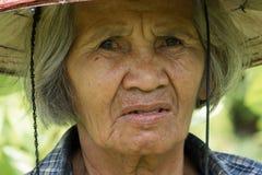 Portret Oude Aziatische Vrouwen stock foto's