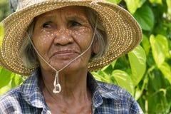 Portret Oude Aziatische Vrouwen stock afbeeldingen