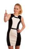 Portret ov een mooie jonge blonde Kaukasische bedrijfsvrouw binnen Stock Afbeelding