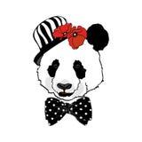 Portret panda w garnka kapeluszu royalty ilustracja