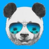 Portret panda z lustrzanymi okularami przeciwsłonecznymi ilustracji