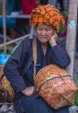 Portret Pao plemienia kobieta w Myanmar Zdjęcie Stock