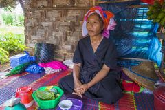 Portret Pao plemienia kobieta w Myanmar Fotografia Stock