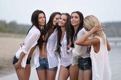 Portret pięć dziewczyn dziewczyn na lecie Zdjęcia Stock