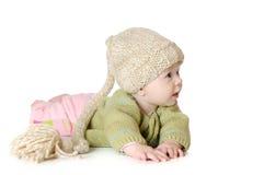 Portret pięć miesięcy stary dziewczynki być ubranym Obrazy Royalty Free