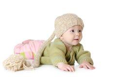 Portret pięć miesięcy stary dziewczynki być ubranym Zdjęcie Stock