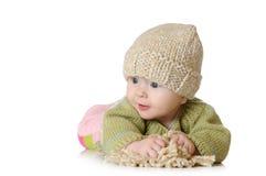 Portret pięć miesięcy stary dziewczynki być ubranym Fotografia Stock