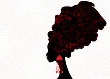 Portret piękna Afrykańska kobieta w tradycyjnym turbanie, Kente głowy opakunku afrykanin, dashiki druk, czarne afro kobiety wekto ilustracja wektor