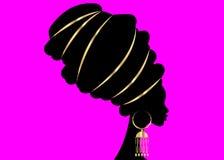 Portret piękna Afrykańska kobieta w tradycyjnym turbanie, Kente głowy opakunku afrykanin, Tradycyjny dashiki druk, murzynki wekto Zdjęcia Stock
