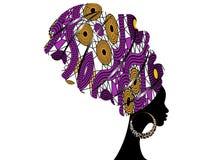 Portret piękna Afrykańska kobieta w tradycyjnym turbanie, Kente głowy opakunku afrykanin, Tradycyjny dashiki druk, murzynki wekto ilustracja wektor
