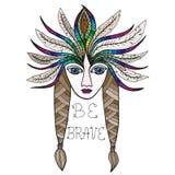 Portret piękna Amerykańsko-indiański dziewczyna Zdjęcia Royalty Free