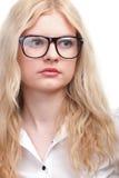Portret piękna blondynek szkieł kobieta Zdjęcie Royalty Free
