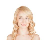 Portret piękna blondynka odosobniony tło Obrazy Royalty Free