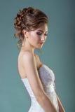 Portret piękna delikatna, elegancka dziewczyn kobiet panna młoda w białej sukni z i Fotografia Stock