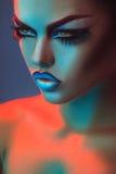 Portret piękna dorosła kobieta w światłach i mak czerwonych i błękita Zdjęcia Royalty Free