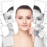 Portret piękna dziewczyna odizolowywająca na bielu (kolaż) zdjęcia stock