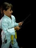 Portret piękna dziewczyna w kimonowy ćwiczyć Obraz Stock