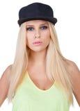 Portret piękna dziewczyna w nakrętce Zdjęcie Stock