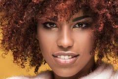 Portret piękna dziewczyna z afro fryzurą Zdjęcia Stock