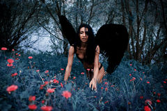 Portret piękna dziewczyna z czernią uskrzydla demonu Zdjęcia Royalty Free