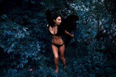 Portret piękna dziewczyna z czernią uskrzydla demonu Zdjęcie Royalty Free
