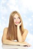 Portret piękna dziewczyna z długie włosy zdjęcia royalty free
