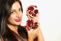 Portret piękna dziewczyna z granatowem Zdjęcia Royalty Free