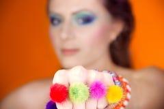 Portret piękna dziewczyna z jaskrawym makeup obraz royalty free