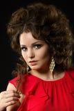 Portret piękna kędzierzawa kobieta Fotografia Stock