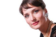 Portret piękna kobieta, odizolowywający na białym tle piękna kobieta Zdjęcie Stock