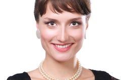 Portret piękna kobieta, odizolowywający na białym tle piękna kobieta Zdjęcie Royalty Free