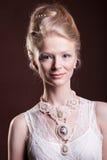 Portret piękna kobieta w rocznika wiktoriański sukni Obraz Stock