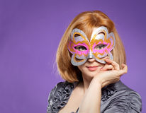 Portret piękna kobieta z festiwal maską Fotografia Stock