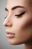 Portret piękna kobieta z perfect skórą i makijażem Zdjęcia Royalty Free
