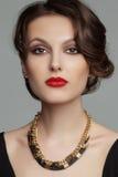 Portret piękna kobieta z pięknym makijażem Zdjęcia Stock